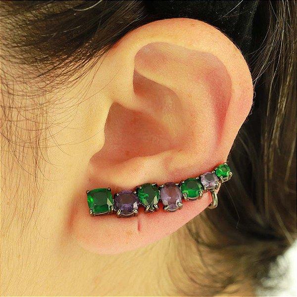 Ear Cuff em zircônia Ametista e Esmeralda