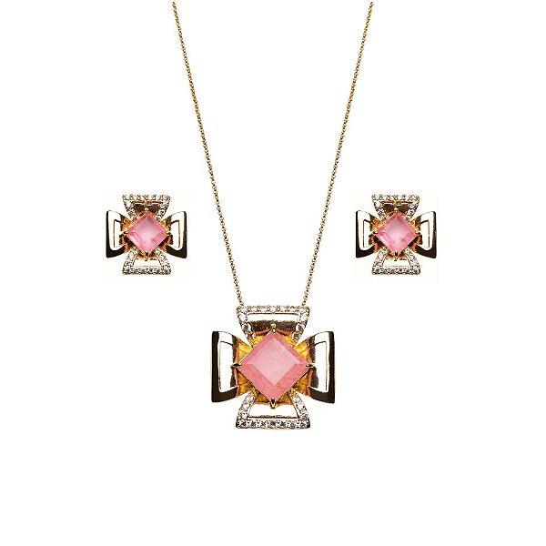 Conjunto Retangular Turmalina Rosa Fusion