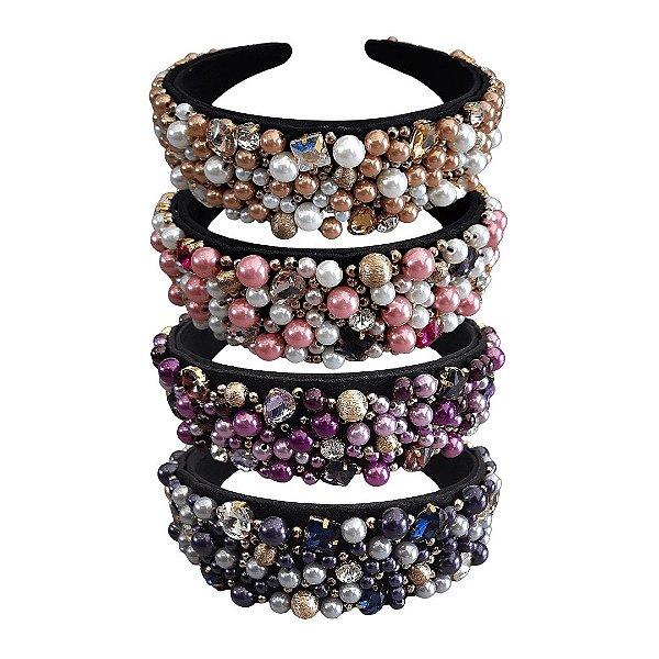 Tiara bordada pérolas e cristais luxo