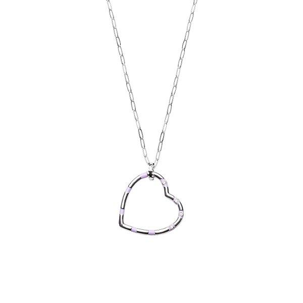 Maxi colar de coração esmaltado em Lilás