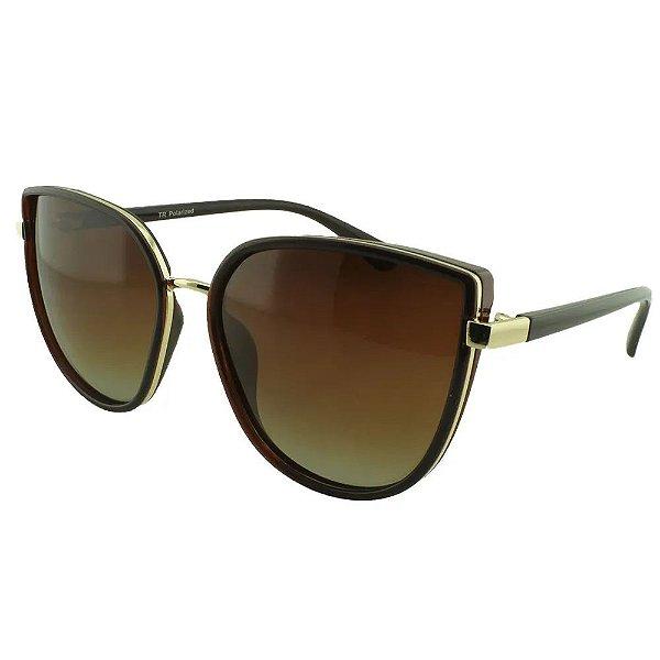 Óculos de Sol Feminino Color People Polarizado TP2 Marrom + Estojo de Brinde