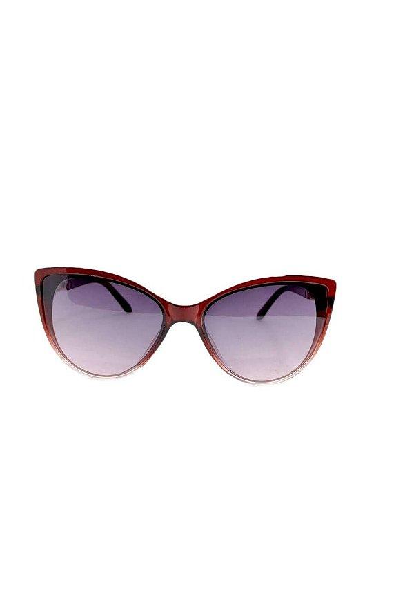Óculos de Sol Feminino Color People Cat Vinho + Estojo Brinde