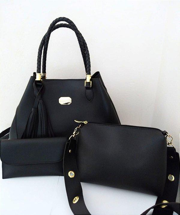 Kit 3 Peças Color People: 1 Bolsa Bag Grande de Ombro + 1 Bolsa Pequena Alça Transversal e 1 Carteira Preta