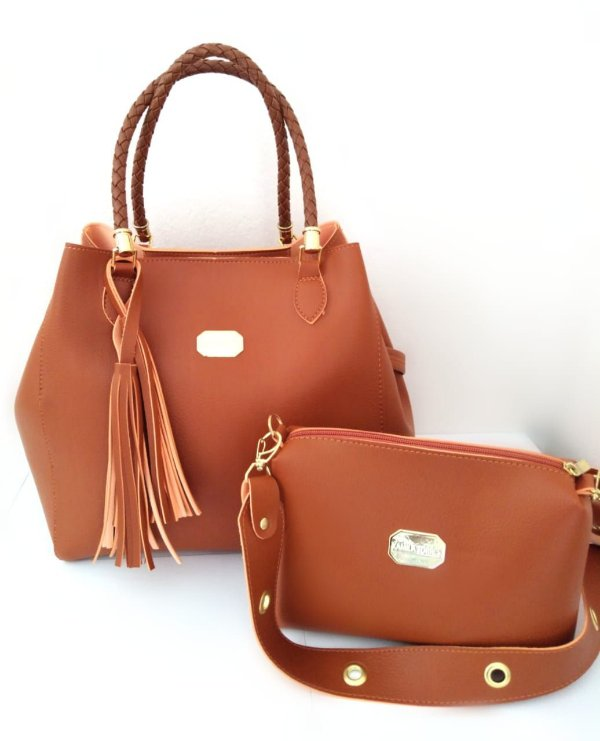 Kit Color People: Bolsa Bag Grande de Ombro + Bolsa Pequena Alça Transversal Caramelo