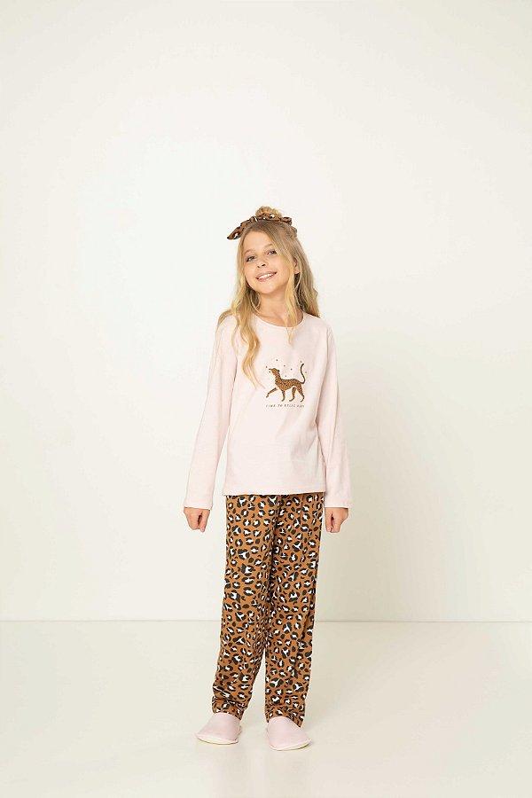 Pijama Menina e Teen Manga Longa  Animal Print Caramelo e Blusa Rosa estampada