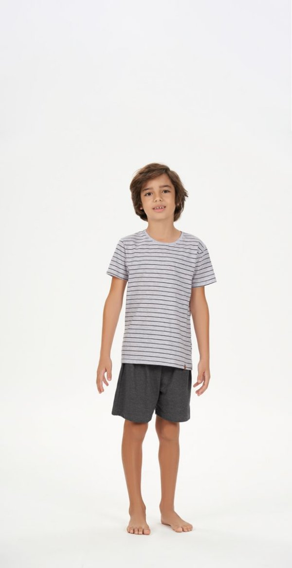 Pijama Menino e Teen Curto Mescla Listrado com Bermuda Chumbo
