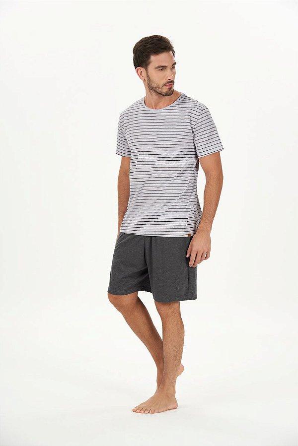 Pijama Masculino Adulto e Teen Curto Mescla Listrado com Bermuda Chumbo