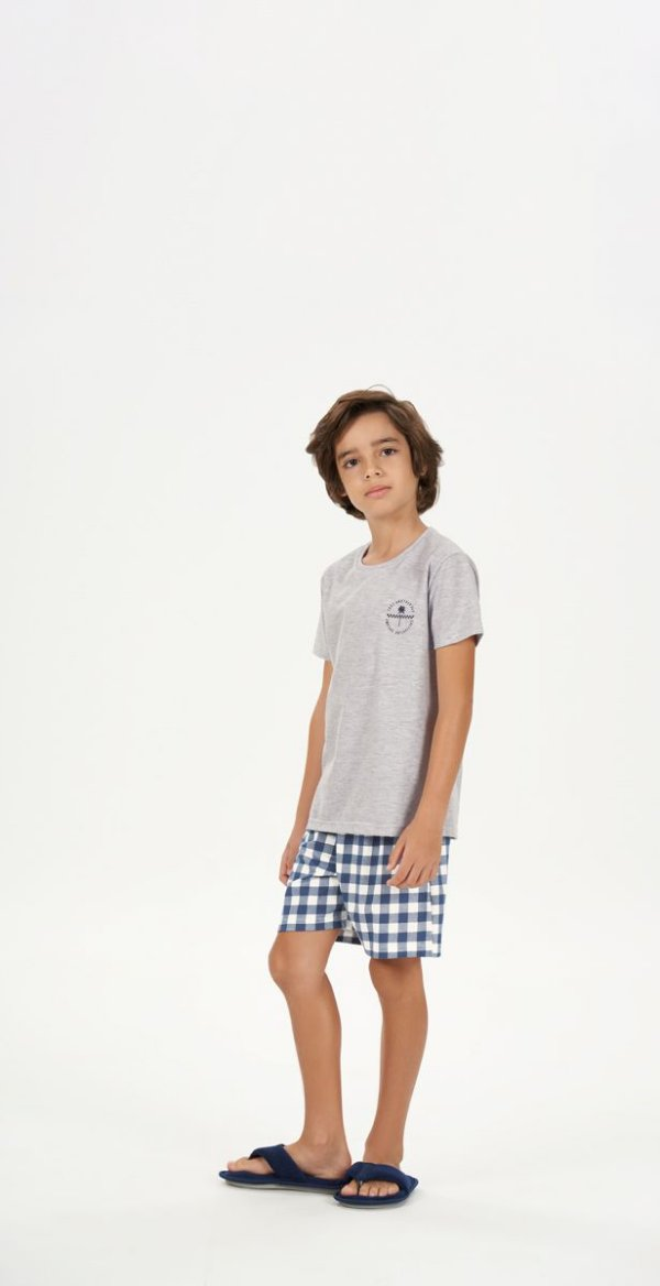 Pijama Menino Curto Mescla com Bermuda Xadrez Azul