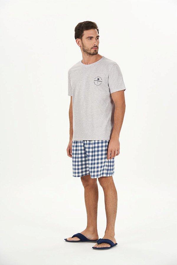 Pijama Masculino Adulto e Teen Curto Mescla com Bermuda Xadrez Azul