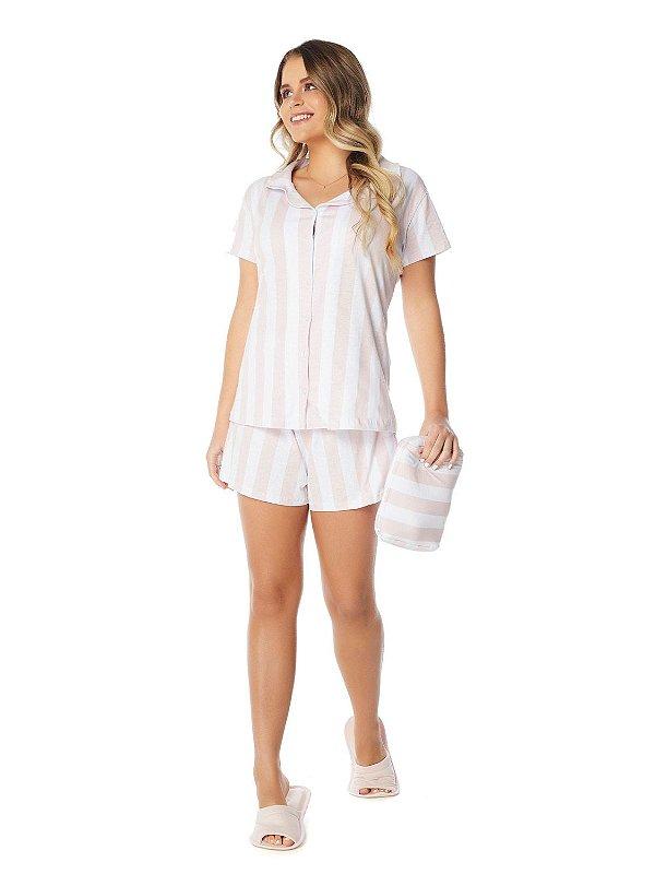 Pijama Camisaria Manga Curta com Abertura Frontal Estampa Listra Caribe Rosé