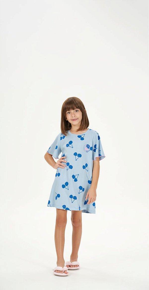 Camisola Infantil Manga Curta Azul Estampa Cerejas