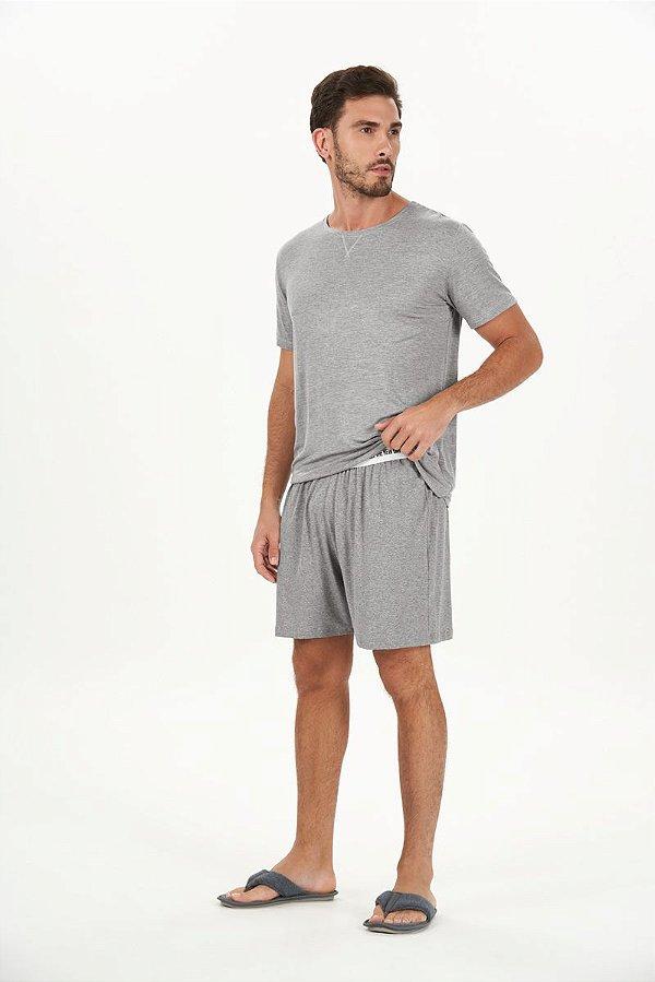Pijama Masculino Adulto Curto Mescla em Viscolycra