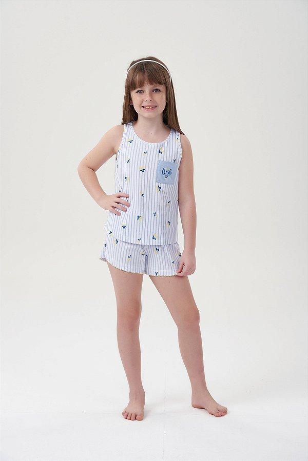 Shortdoll Infantil Regata Branco com Azul Estampa Limão Siciliano