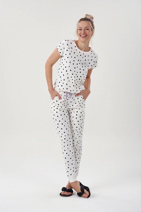 Pijama Feminino Adulto e Teen Manga Curta Branca Com Bolinhas Pretas com Calça