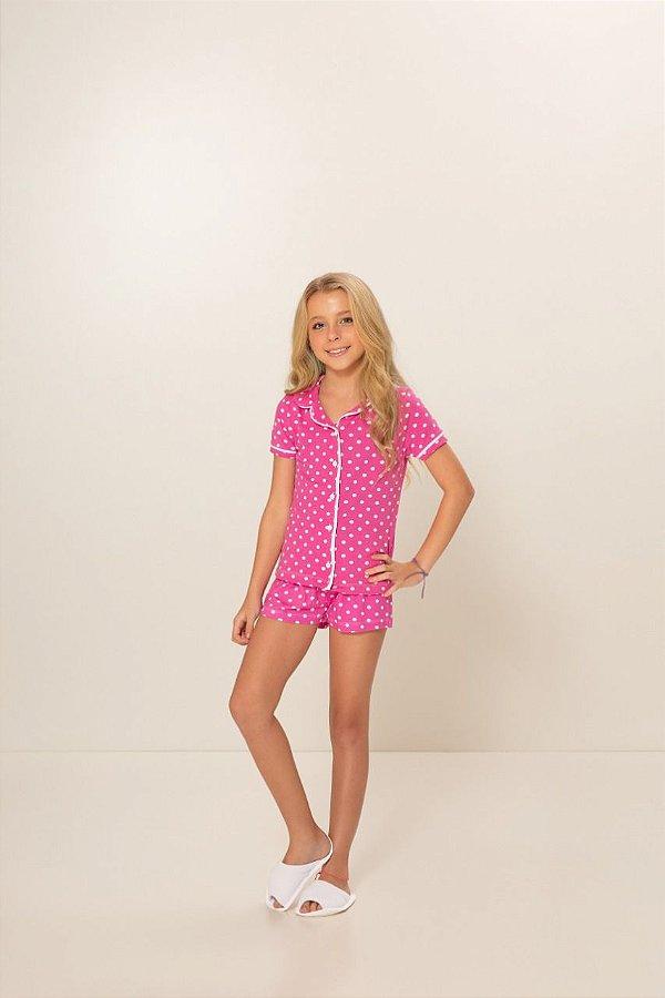 Pijama Menina Camisaria Manga Curta Pink Bolinha Branca