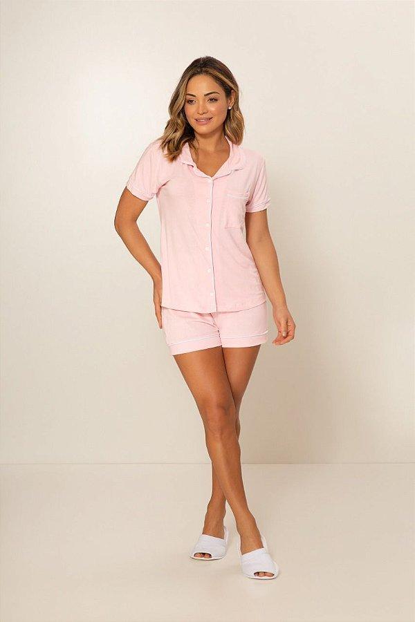 Pijama Camisaria Manga Curta com Abertura Frontal Rosa Bebê