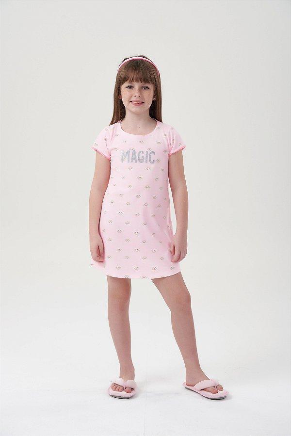Camisola Infantil Manga Curta Rosa Candy Arco-Íris