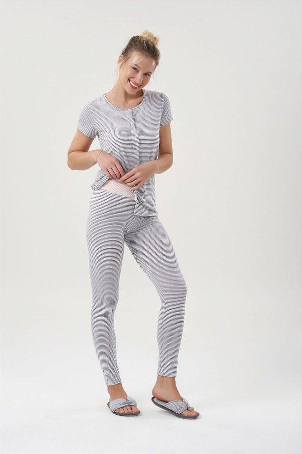 Pijama Manga Curta Com Abertura Frontal Mescla Listrado com Legging