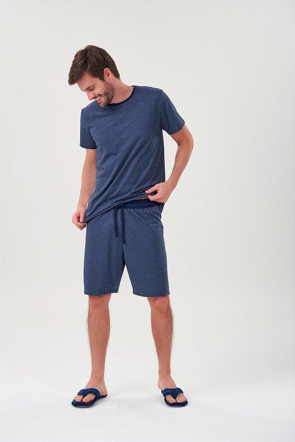 Pijama Masculino Adulto Curto Marinho Estonado