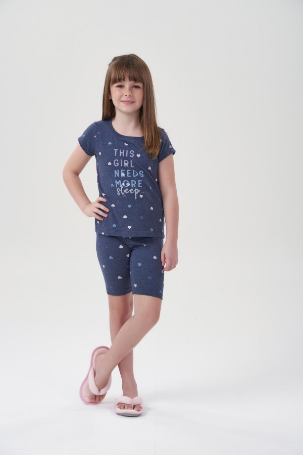 Pijama Infantil Bermudoll Marinho Corações