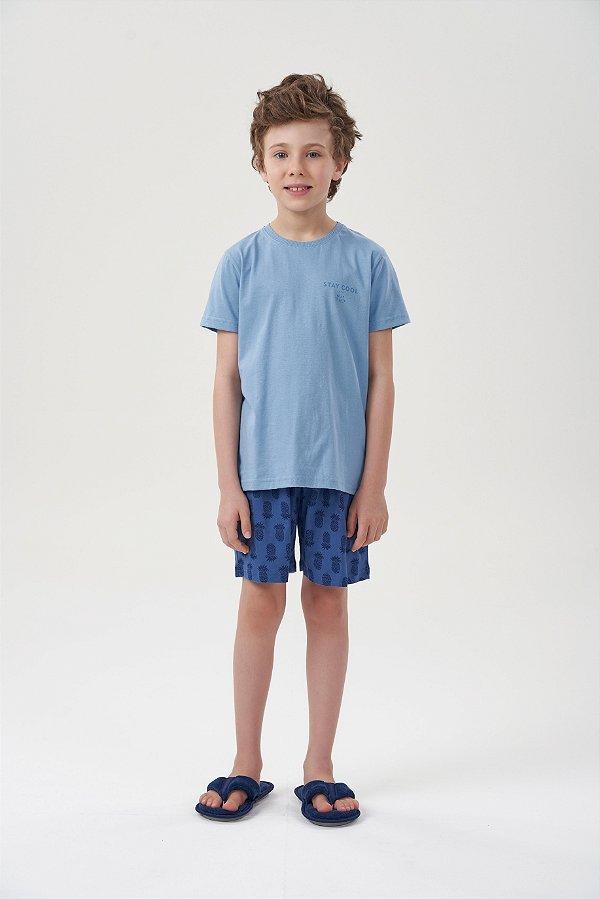 Pijama Menino Curto Azul com Bermuda Marinho Abacaxis