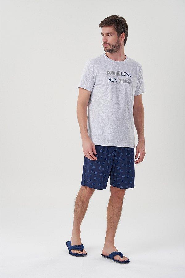 Pijama Masculino Adulto e Teen Curto Mescla com Bermuda Azul Bicicletas
