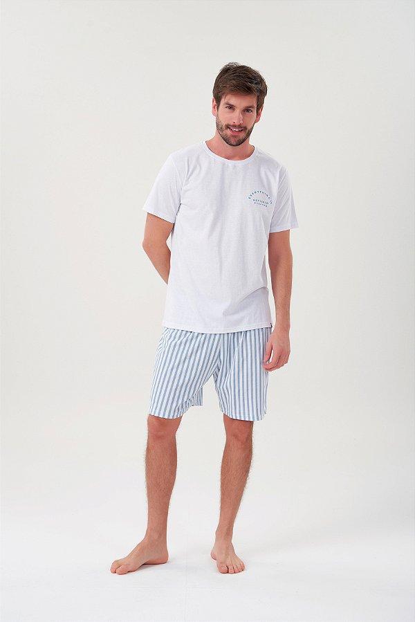 Pijama Masculino Adulto e Teen Curto  Listrado Branco Azul com Camiseta Branca