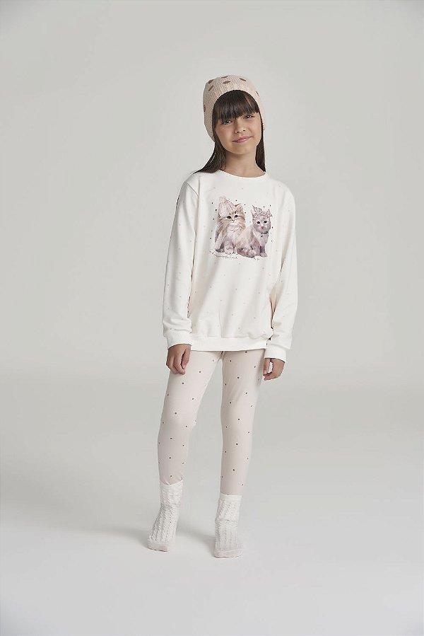 Pijama Menina Manga Longa Off-white com Poá Gatinhos em Molecotton sem felpa