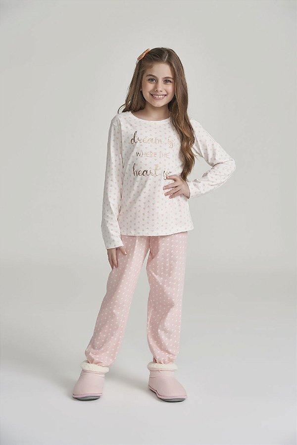 Pijama Menina Manga Longa Rosa Mini Corações
