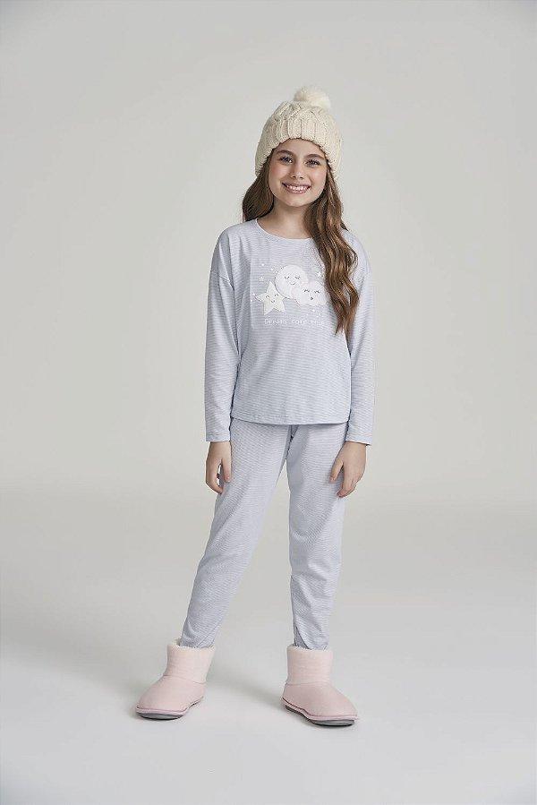 Pijama Menina Manga Longa  Azul Listrado Lua, Estrela, Nuvem