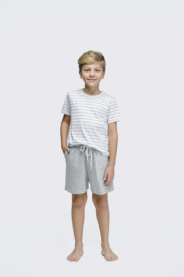 Pijama Menino Curto Listrado Mescla e Branco On Sundays