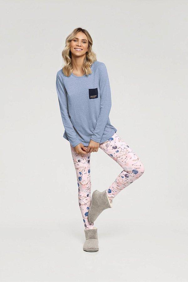 Pijama Feminino Adulto Manga Longa Constelações com Legging
