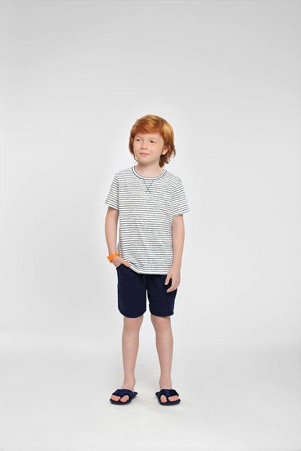 Pijama Menino Curto Listrado Branco e Marinho