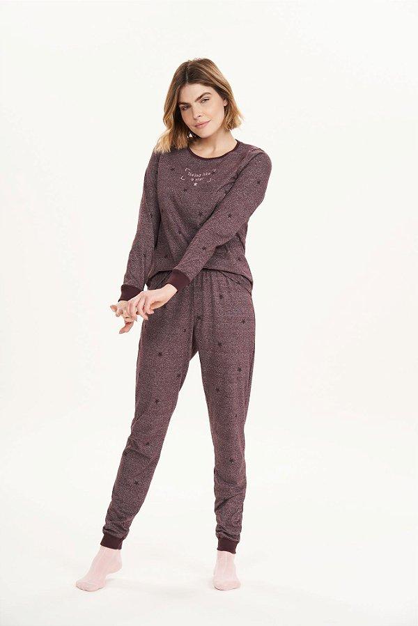 Pijama Feminino Adulto Manga Longa Mini Estrelas Vinho