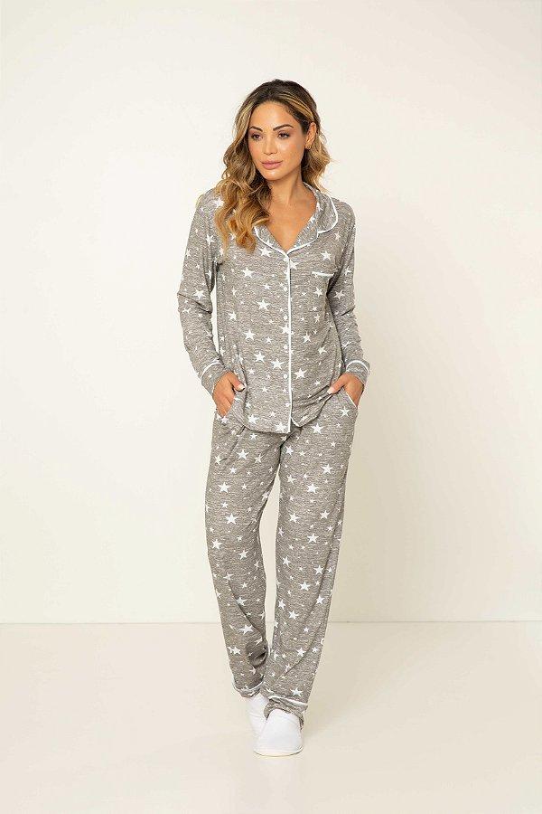 Pijama Camisaria Manga Longa com Abertura Frontal Mescla Estrelas