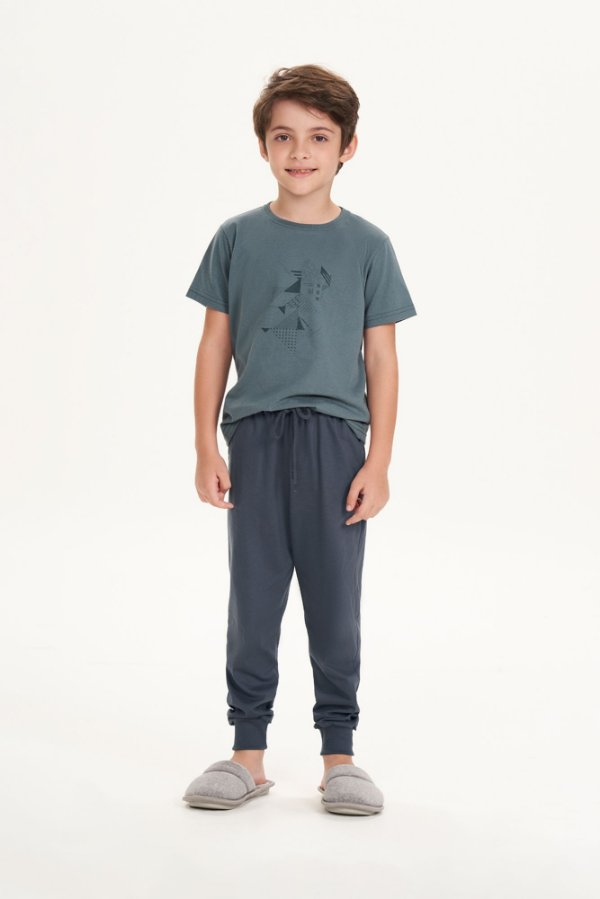 Pijama Menino e Teen Manga Curta com Calça Cor Concreto