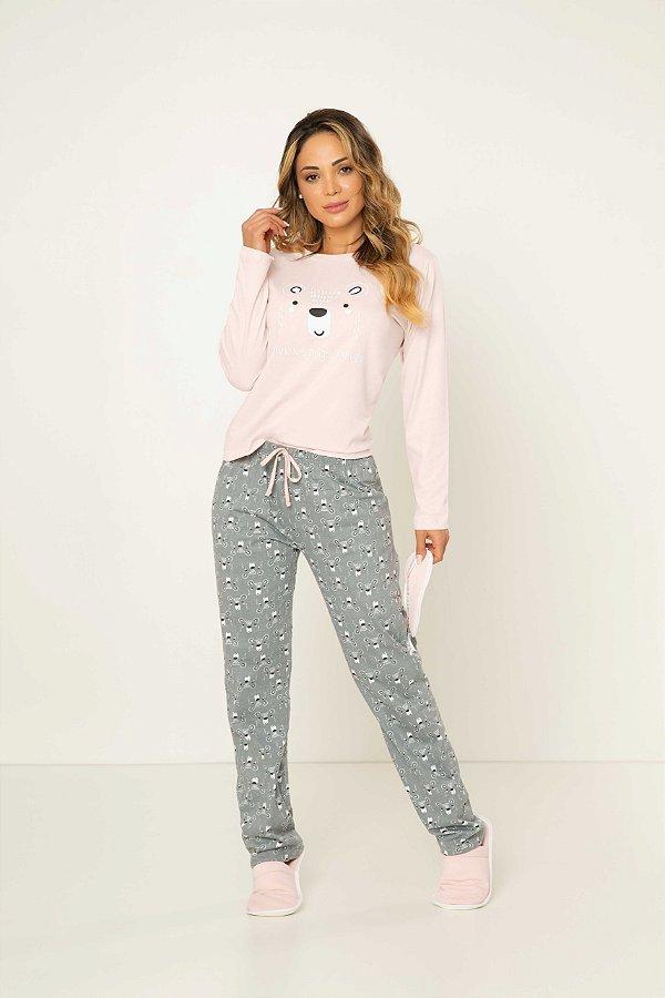 Pijama Feminino Adulto Manga Longa Urso Cinza e Rosa