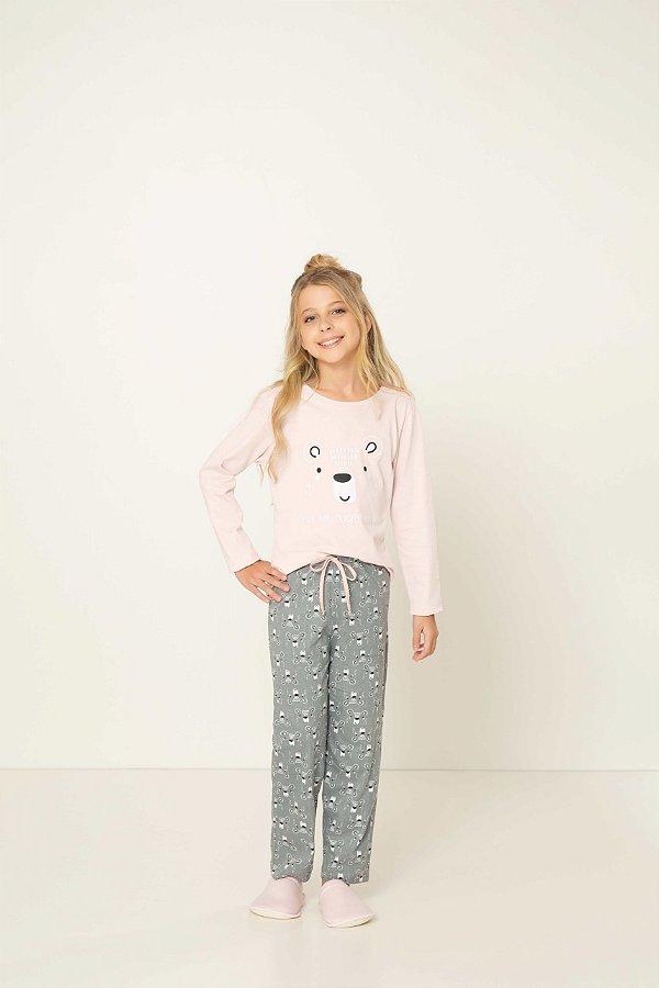 Pijama Menina e Teen Manga Longa Urso Cinza e Rosa