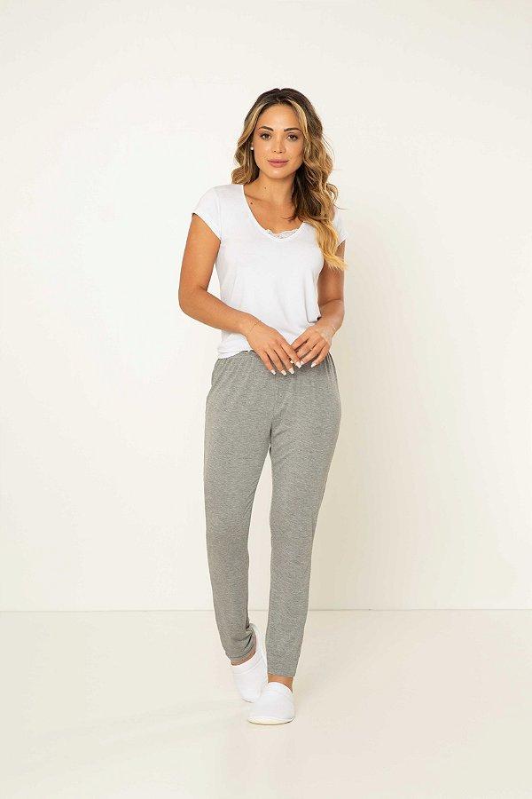 Pijama Feminino Adulto Manga Curta Branca com Calça Mescla