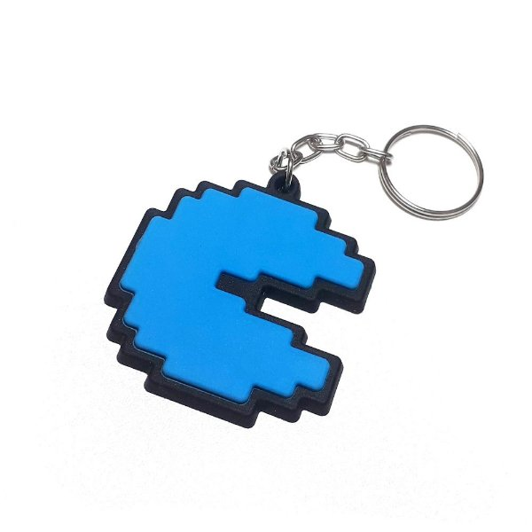 Chaveiro Pac Man Azul Emborrachado