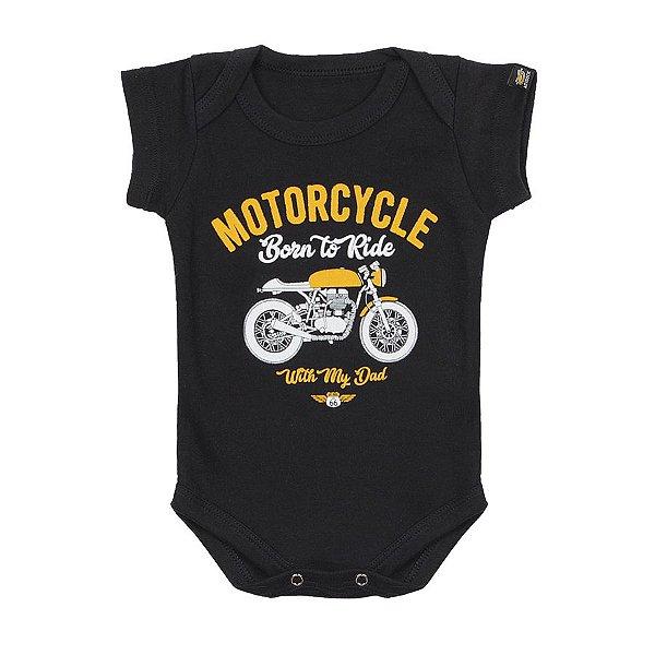 Body Bebê Moto Com Papai Preto