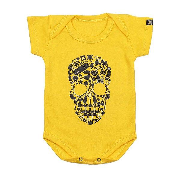 Body Bebê Caveira Elementos Amarelo