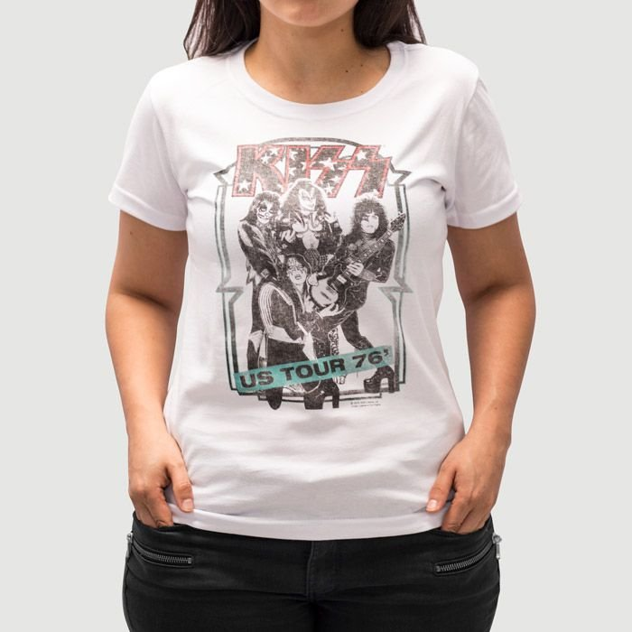 Camiseta Feminina Kiss US Tour Branca