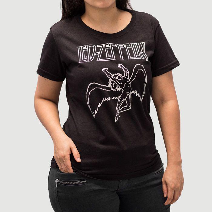 Camiseta Feminina Led Zeppelin Preta