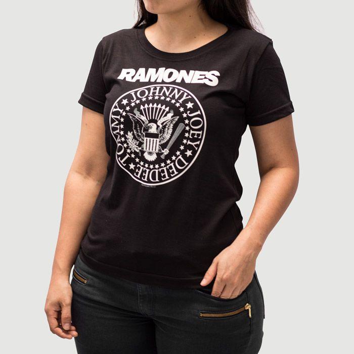 Camiseta Feminina Ramones Preta