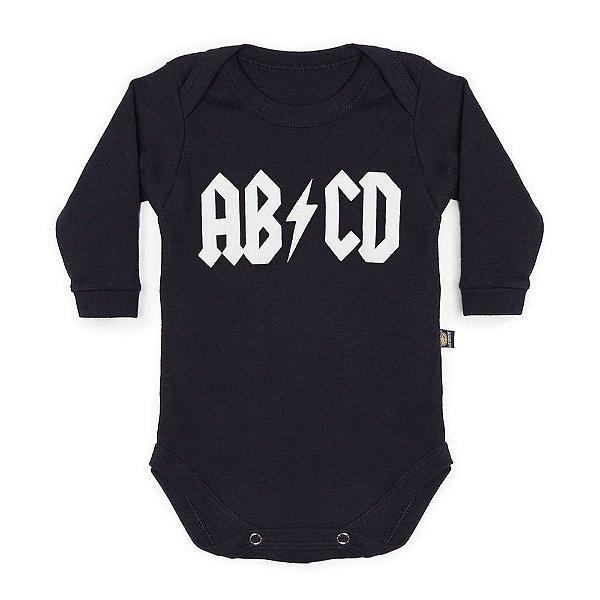 Body Bebê Manga Longa ABCD Preto