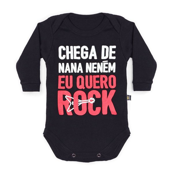Body Bebê Manga Longa Quero Rock Preto