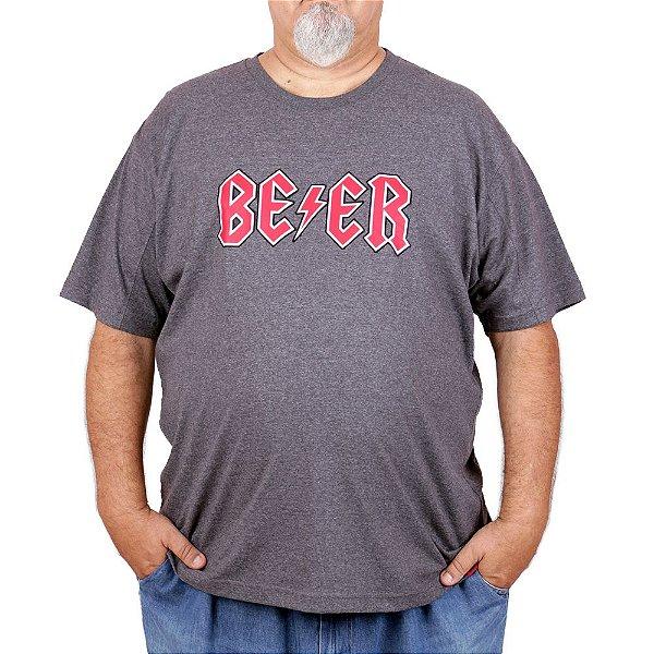 Camiseta Plus Size Cerveja Beer Rain Grafite.