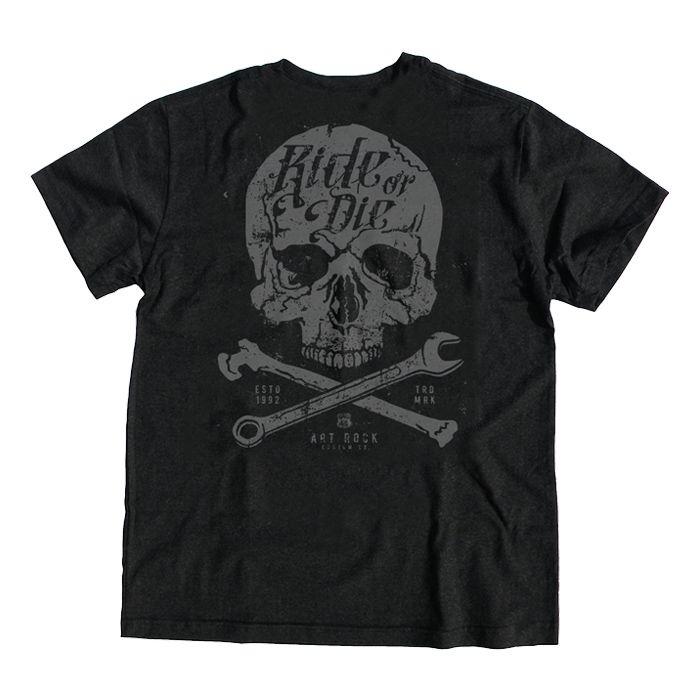 Camiseta Plus Size Caveira Ride Or Preta Jaguar.