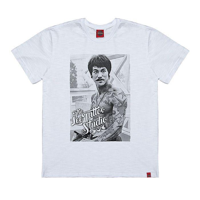 Camiseta Plus Size Bruce Lee Tattoo Branca.